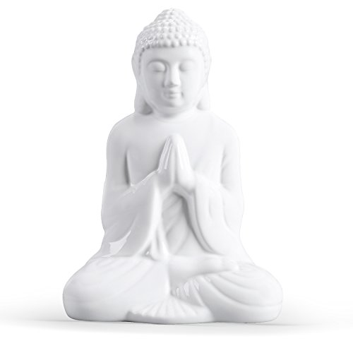 FORLONG FL6005 Buddha Statue,Idol,Decorative Figurine Praying Buddha Statue, Serene Small Buddha Statue-White