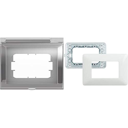 BTicino 26603 Idrobox Coperchio Cover Universale IP44 3P, Grigio & SAM4803BBN Kit-placca/Supporto matix 3P Bianco