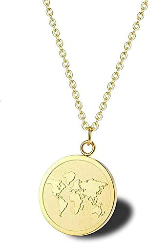 huangxuanchen co.,ltd Necklace Necklace Exquisite Golden Round Map Necklace World Map Land Region Travel Glamor Medal Necklace World Traveler Jewelry Gift