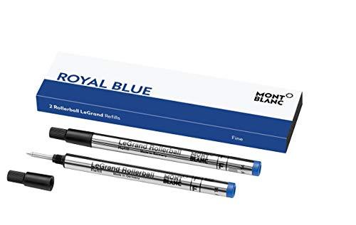 Montblanc 124502 LeGrand - Refill (F) per penne roller, Blu (Royal Blue), Dimensione: F = fine, Set da 2