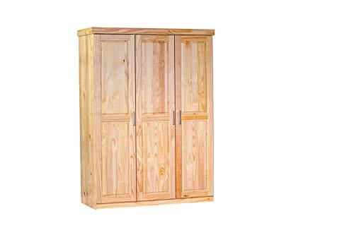 Inter Link Kleiderschrank Garderobenschrank Mehrzweckschrank Dielenschrank Schlafzimmerschrank Kiefer massiv Natur lackiert