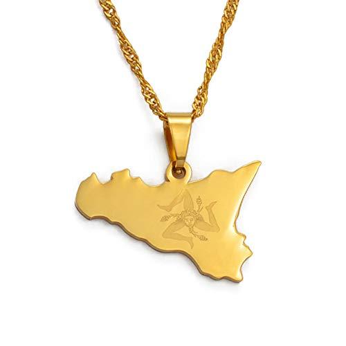 Nobrand Italia Sicilia Mapa Collares Pendientes, Acero Inoxidable/Oro Color Italiano Sicilia Joyas Regalos