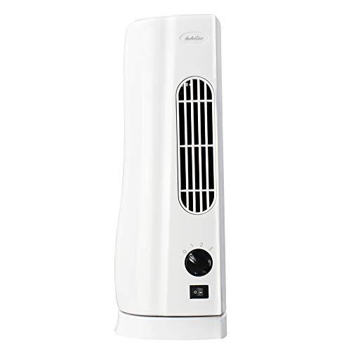 AirArtDeco Mini Ventilatore a Torre, Ventilatore da Scrivania Elettrico da 15 pollici,Oscillazione a 100°Gradi e 3 Velocità,Ideale per casa e ufficio - Bianco