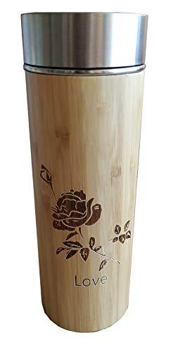 Bamboe RVS Thermosfles ♻ Bamboe en Roestvrij Staal Ecologische Thermoskan (Dubbelwandig Isolerend Lege) - Thermos Met Schroefdop, Thee Filterzeef, Anti drup, Luchtdicht - Water, Koffie - Eco, BPA-vrij