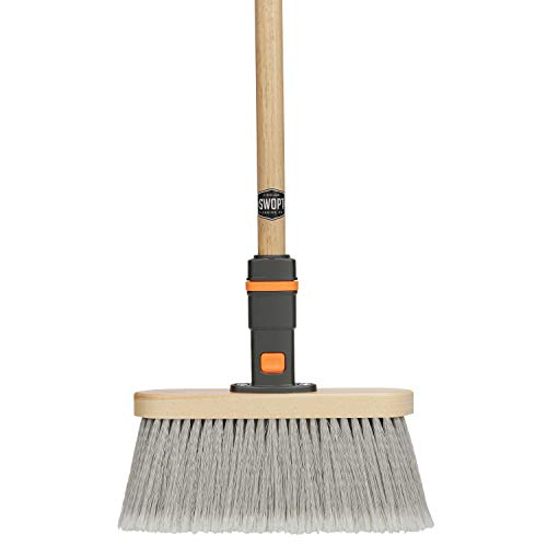 SWOPT Premium Straight Broom for Smooth Surfaces – 48' Comfort Grip Wooden Handle – EVA Foam Comfort Grip Gives Stability & Comfort – Handle Interchangeable with All SWOPT Cleaning Heads