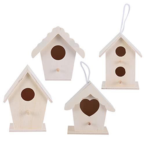 Artibetter - Set di 4 casette per uccelli, in legno grezzo, da appendere, per scoiattolo, colibrì, pappagallo, passero
