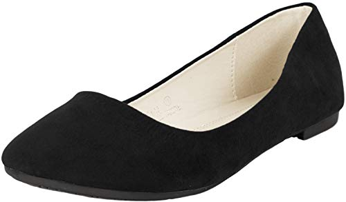 Bella Marie Stacy-12 Women's Round Toe Suede Leather Slip on Boat Ballet Flat Shoes Black 6.5