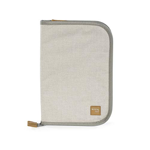 Walking Mum. Libro de Nacimiento Baby Nature Sand. Funda portadocumentos de bebé con bolsillos transparentes y cierre de cremallera. Color Beige. Medidas 20 X 28 X 1 cm.