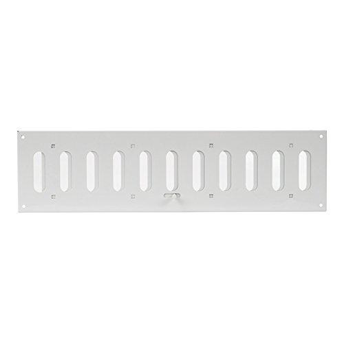 400x100mm Schiebegitter aus Stahlblech - Weiß Lüftungsgitter Abluftgitter