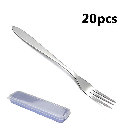 20Piece Appetizer Dessert Forks, Stainless Steel Fruit Salad Forks 2-Tine for Cocktail and Mini Cake (20, 3-Tine)
