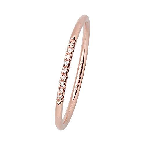 Xenox Damen Ring 9 Karat 375er Rotgold mit 0,035 ct Diamanten Roségold - Fashion XG4421R, Ringgröße (Durchmesser):54 (17.2 mm Ø)