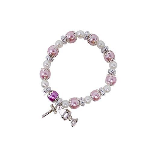 Braccialetto elastico con croce e calice per la prima comunione, con perle bianche e rosa, gioielli religiosi in rilievo per ragazze