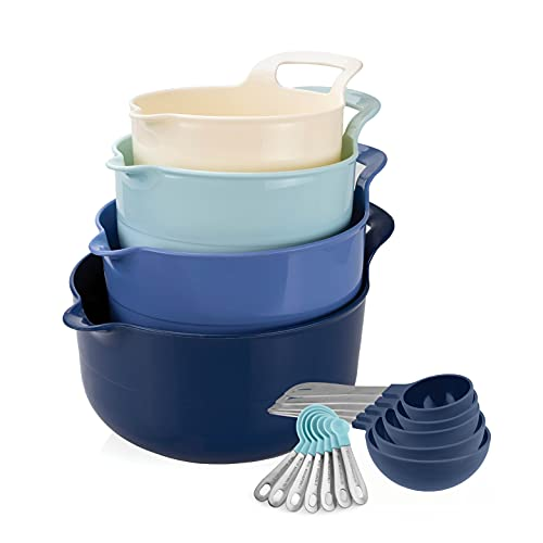Cook with Color Mixing Bowls – 4 Piece Nesting Plastic Mixing Bowl Set with Pour Spouts and Handles (Bowl and Measuring Cup Set)