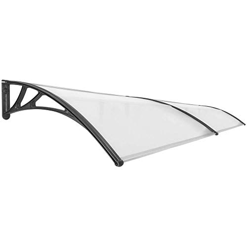 PrimeMatik - Tejadillo de protección 300x100cm Marquesina para Puertas y Ventanas Negro