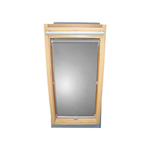 Rollo für VELUX Dachfenster THERMO Alu-Rückseite Dachfensterrollo für TYP VL Y/VU Y/VKU - Y85 - Farbe Silber-Grau - mit Haltekrallen