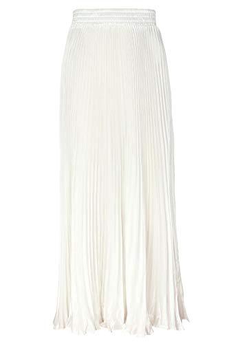 ebossy Women's Elastic Waist Satin Metallic Pleated Long Swing Skirt (One Size, White)