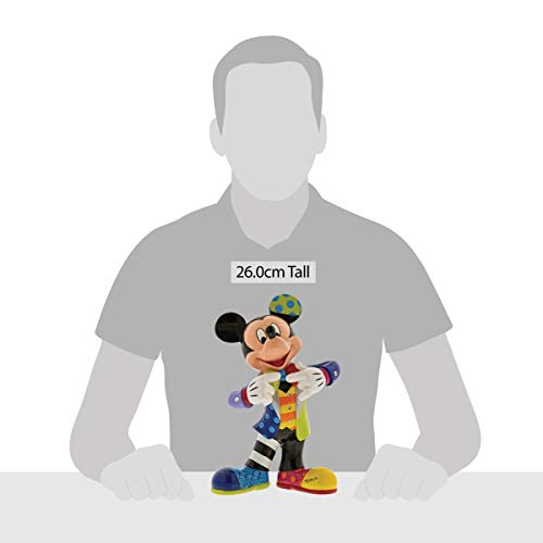 """Enesco Disney by Britto Mickey Mouse with Bling 90th Celebration, 10.5"""" Stone Resin Figurine, Multicolor"""
