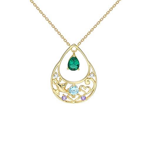 Collar de lámpara hueco en forma de corazón Cadena de clavícula 925 Plata Verde Nano Gota de agua Temperamento Colgante Retro