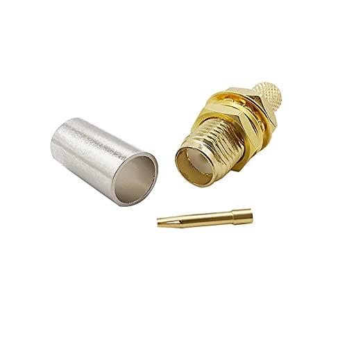 Xihe Conector de Cable Adaptador coaxial Conector Recto de la Nuez de la Nuez del Centro de Enchufe de la Femenina de SMA for RG58 RG142 LMR195 RG400 Cable (Color : 1pcs)