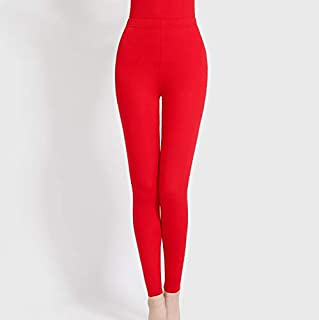 Women Winter Thick Warm Fleece Lined Thermal Stretchy Cotton Leggings High Waist Velvet Tights Legging Pants 3 Colors QDDSP (Color : Red, Size : XL)