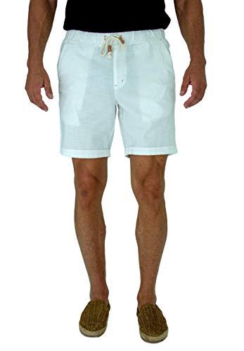 short fin Mens Walking Shorts W/Full Elastic Waist. Made Stretch Cotton (White Size 34 C8010)