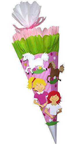 Schultüte Bastelset Pferde Freundinnen vorgedruckt - Zuckertüte - aus 3D Wellpappe, 68cm hoch