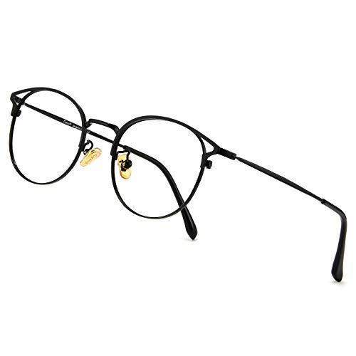 Cyxus Blaulichtfilter Brille Damen mit Katzenauge, Rund Mode Vintage Brille Ohne Stärke, Anti Schädliches Blaulicht UV400 von Handy, Computer,schwarz