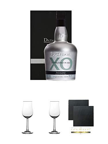 Dictador Solera Rum XO Insolent Kolumbien 0,7 Liter + 2 Bugatti Nosing Gläser mit Eichstrich 2cl und 4 cl + 2 Schiefer Glasuntersetzer eckig ca. 9,5 cm Ø