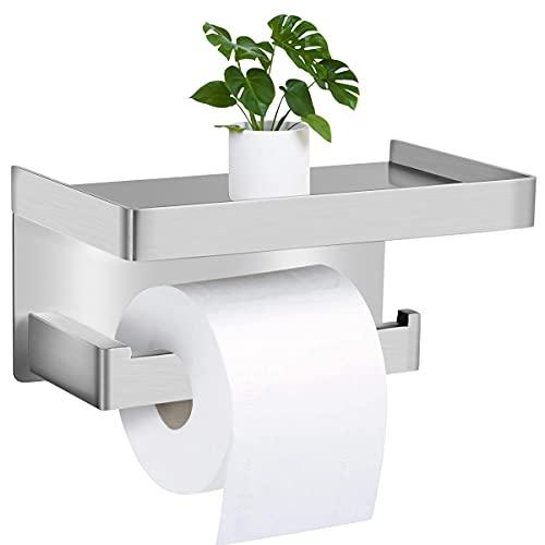 Braoses Toilettenpapierhalter Ohne Bohren mit Ablage SUS304 Edelstahl Klopapierhalter Selbstklebend WC Papier Halterung Wandmontage WC rollenhalter für Küche und Badzimmer Silber