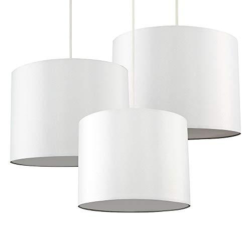 MiniSun – Set di 3 paralumi moderni a forma di tamburo di colore crema con diffusori – per lampada a sospensione