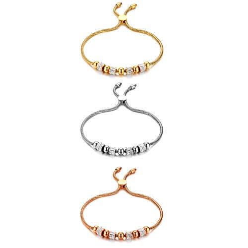 Cupimatch 3Pcs Set Perlen Armband Damen Edelstahl Strass Armreif Geburtstagsgeschenk für Mädchen, Silber Gold Rosegold