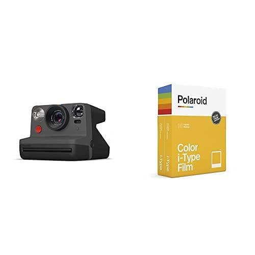 Polaroid - 9028 - Polaroid Now Fotocamera Istantanea i-Type, Nero + 6009 - Pellicola Istantanea Colore per i-Type – Confezione Doppia