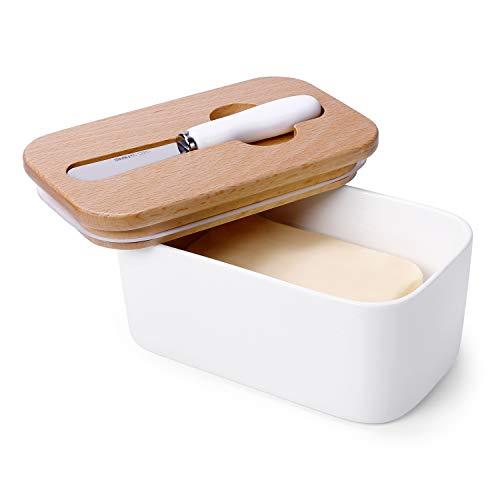 Sweese 324.101 Butterdose Porzellan für 250 g Butter, Holzdeckel mit Silikon-Dichtlippe, Inklusive passendem Buttermesser, Weiß
