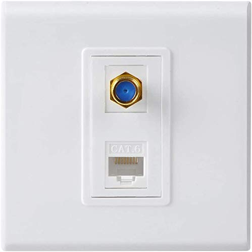 RiteAV - F Type Coaxial Connector Ethernet Network Faceplate Wall Plate Dual 2 Port Combo - Video Coax F Connector with Cat5e Cat6 RJ45 Jack Socket Wiring Plug Decorative Cover Outlet Mount Panel