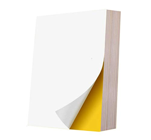 Sylon 100 Feuilles A4 Papier Adhésif Blanc, Étiquette autocollante A4 210x297mm Étiquettes Autocollantes imprimables avec Papier Autocollant imprimante pour Laser, Jet d'encre, Copie et l'écriture