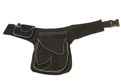 KUNST UND MAGIE Goa Schulter/Bauchtasche Gürteltasche Bauchgurt Hippie Psy Zweifarbig, Farbe:Schwarz/Grau