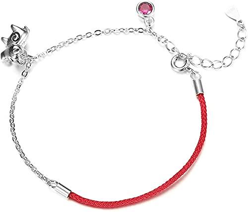 Pulsera Feng Shui Bead Lucky Charm Bracelet 2021 Año del OX S922 ST925 Silver Chinese Zodiaco Ox Red Zircon Pulsera Red Cuerda Media cuerda Media cadena Ajustable Amuleto Ajuste del mal, Pulsera de ab