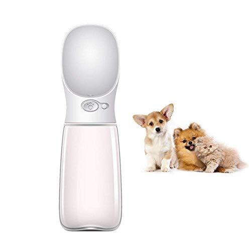 LQSJB Botella de Agua para Beber 350 / 550Ml para Perros, Botella de Agua para Viajes al Aire Libre para Mascotas, Resina de plástico ABS Ambiental (Disponible en Tres Colores), Blanco, 350 ml