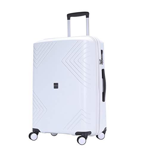 GinzaTravelアンチスクラッチは決して破損しない広くて厚くなった大容量の荷物8ホイールスピナー拡張可能なスーツケース (S(20in), ホワイト)