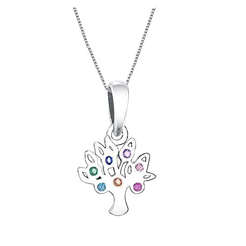 JIAQ Huoonew 925 Collares del Collar de Plata de Ley árbol de la Vida en Color Zirconia Cystal de Piedra y Colgantes Europeo Mujeres Gargantilla baratija