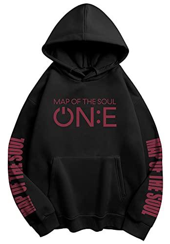 HAIZIVS Drop Shoulder Hoodie BTS Unisex Kapuzen-Sweatshirt Map of The Soul Cheer Kleidung Pullover Pullover