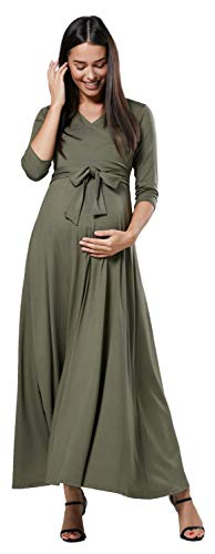 Happy Mama. Damen 2in1 Umstands gerafften Stillkleid Maxikleid 3/4 Ärmel 608p (Khaki, EU 40, L)