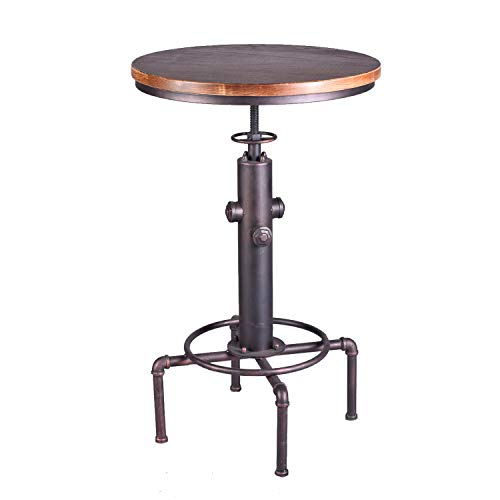 TOPOWER Industrial Bar Table 31.5-41.3' Adjustable Pub Table Kitchen Dining Coffee Bistro Table...