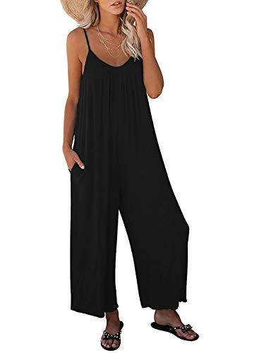 Nirovien Womens Oversized Sleeveless Jumpsuits Spaghetti Strap Wide Leg Rompers with Pocket One Piece Jumper(Black,S)