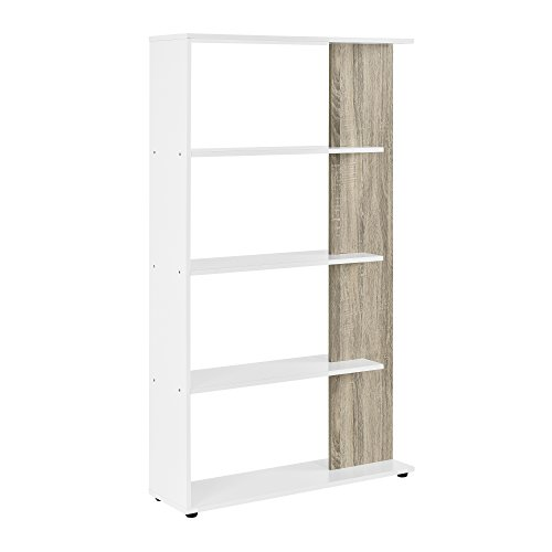 [en.casa] Scaffale libreria - Piani MDF - Bianco/Effetto Legno - 141cm x 80cm x 23,5 cm