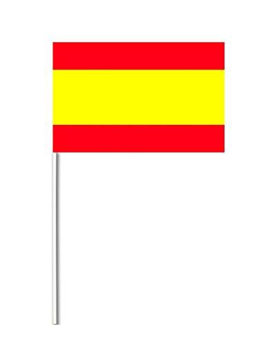COOLMP – Lote de 12 Banderas de Papel España 14 x 21 cm – Talla única – Decoración Accesorios de Fiesta, animación, cumpleaños, Boda, Evento, Juguete, Globo
