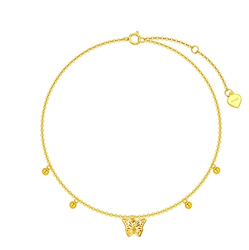 Butterfly Anklet 14K Solid Gold Elegant Butterfly Anklets Dainty Gold Adjustable Chain Foot ankle Bracelet Simple Everyday Jewelry Gifts for Women, Wife, Mom, 8-10Inch