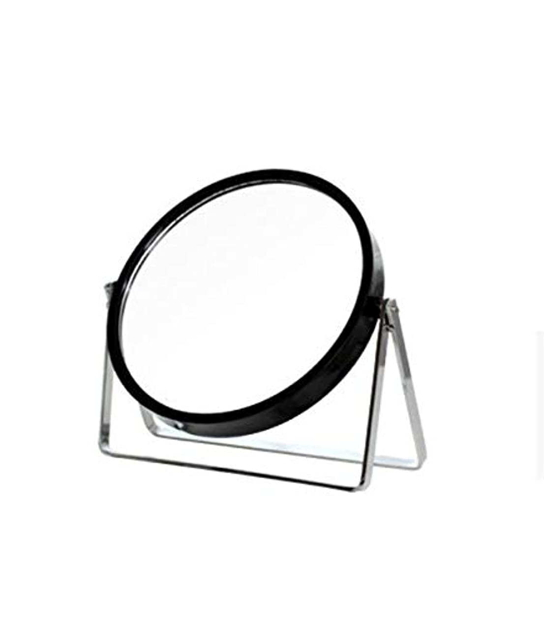 失うカラス王室化粧鏡、シンプルなラウンドホーム寮デスクトップ化粧鏡化粧ギフト (Color : ブラック)