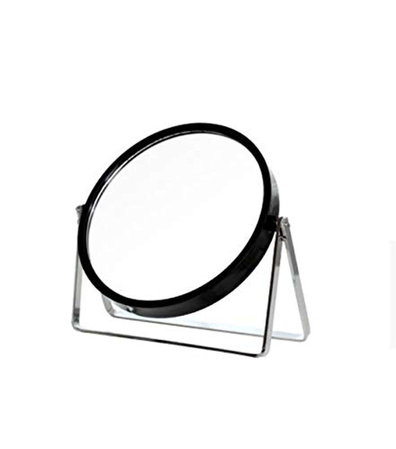 文庫本メロディー庭園化粧鏡、シンプルなラウンドホーム寮デスクトップ化粧鏡化粧ギフト (Color : ブラック)