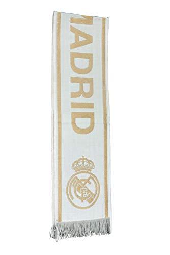 Real Madrid Bufanda Color Disponible Blanco y dorado(Blanco)